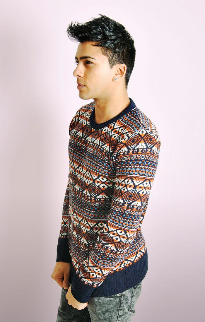 Multi Colour Pattern Knit Jumper